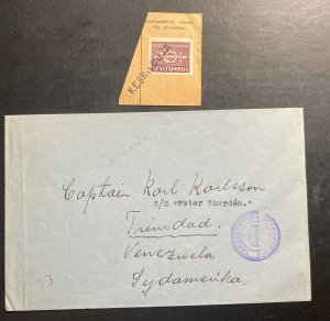 1940s Finland Kenttapost Censored Cover To Trinidad Venezuela With Piece
