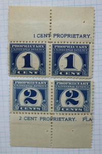 US IR Proprietary 1c 2c sc#RB65 RB66 Pair Mint stuck Margin Slevage Revenue