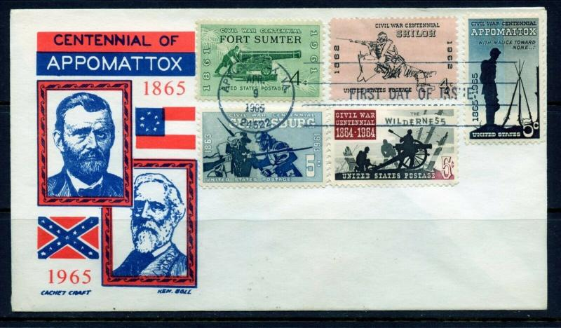 UNITED STATES 1965 COMBINATION CIVIL WAR CACHET CRAFT  FIRST DAY COVER