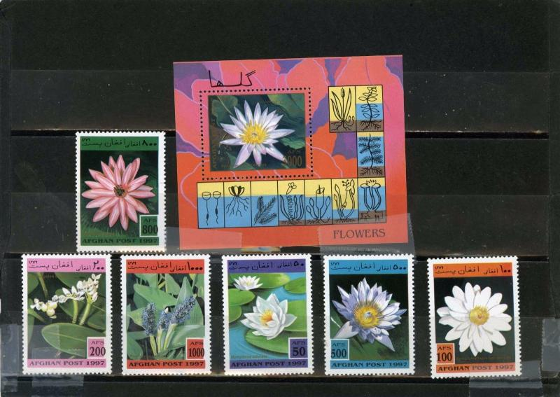 AFGHANISTAN 1997 Mi#1733-1738,Bl.95 WATER FLOWERS SET OF 6 STAMPS & S/S MNH