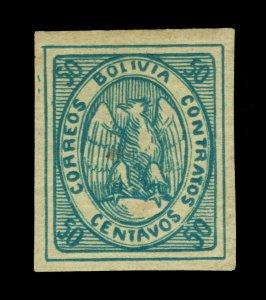 BOLIVIA  1868  CONDOR  50c dark blue Scott # 6a mint MH VF+