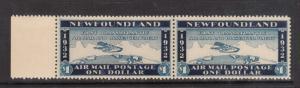 Newfoundland Mint $1 Wayzata Airmail XF/NH Left Margin Pair