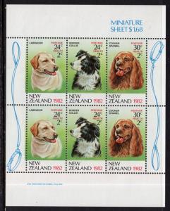 New Zealand B114a Dogs Souvenir Sheet MNH VF