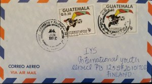 A) 1992, GUATEMALA, COVER SHIPPED TO FINLAND, AIRMAIL, CENTRAL AMERICAN AND CARI