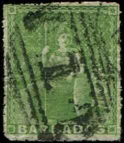 Barbados SC# 12 SG# 16a Britannia (1/2d) pin perf 12-1/2 Used