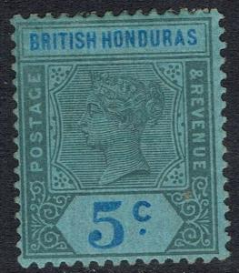 BRITISH HONDURAS 1891 QV KEY TYPE 5C