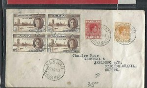BAHAMAS COVER (PP2909BB) 1946 KGVI PEACE 1 1/2D BL OF 4+2D+10D TO CZECHOSLOVAKIA