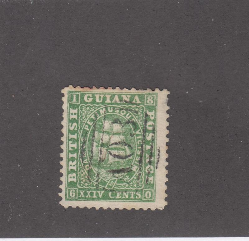BRITISH GUIANA # 22 24cts GREEN THICK PAPER LIGHT NUMERAL CANCEL CAT VALUE $85+