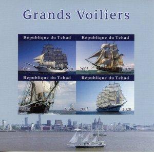 Chad Tall Ships Stamps 2020 MNH Sailboats Sailing Boats Nautical 4v IMPF M/S