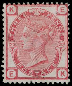 SG144, 3d pale rose plate 20, M MINT. Cat £850. EK