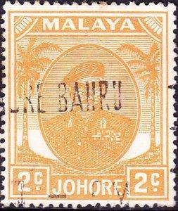 MALAYA JOHORE 1952 2c Orange-Yellow SG134a Fine Used