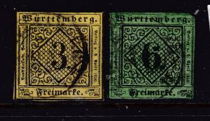 Wurttemberg a used 3K & 6K from 1851