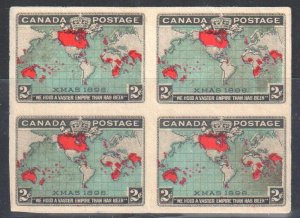 Canada #86ii XF Mint -- Imperf Block of 4 - !st Map and Christmas stamps