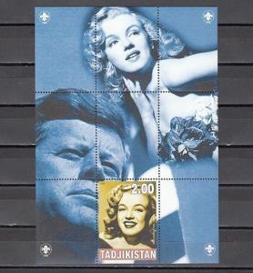 Tadjikistan, 2000 Russian Local. Marilyn Monroe s/sheet. Kennedy shown.