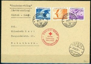 LIECHTENSTEIN 1939 SCOTT #C17,C18,AND C20 VIA ZURICH POSTAL HISTORY COVER VF