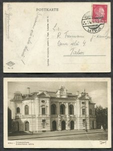 3149 - LATVIA Valdemarpils 1943 CDS on Hitler Ostland Overprint RIGA Postcard
