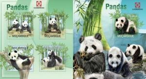 Mozambique 2013 panda  wild animals of africa kbl+s/s MNH