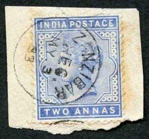 Zanzibar SGZ85 1882-90 India 2a Blue 3 May 93 with CDS (type Z6) Used on Piece