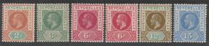SEYCHELLES 1912 KGV RANGE TO 15C INCLUDING 6C SHADE