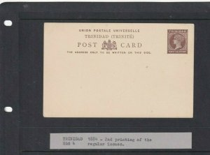 TRINIDAD  POSTAL STATIONARY 1/2D UNUSED 1884/85