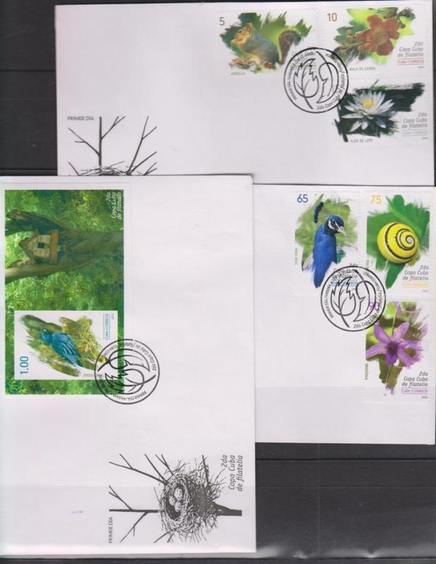 M) 2013 CUBA, ANIMALS, BIRDS, FLOWERS, SET 6 VALUES FDC