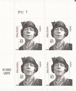 US Stamp 2003 83c Edna Ferber w/Curving Shoulder 4 Stamp Pl. Block #3434