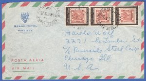 ITALY 1958 L.60 x 3 NAPLES Centenial stamp, Florence > USA