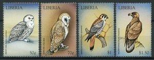 Liberia Birds of Prey on Stamps 1999 MNH Snowy Bar Owls Kestrels Eagles 4v Set