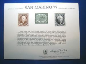 BEP ENGRAVED CARD - SAN MARINO 77 - #SC57     (ST44)