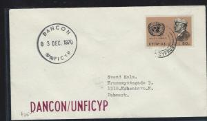 CYPRUS  (P12103B) 1970 1 STAMP COVER UN FORCES IN CYPRUS TO DENMARK,  DANCON