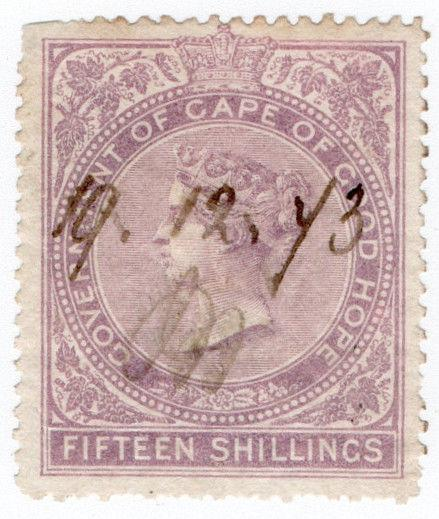 (I.B) Cape of Good Hope Revenue : Stamp Duty 15/- (1865)