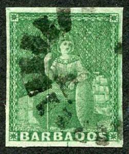 BARBADOS SG8 1855 1/2d Green on White Paper Four Margins Cat 150