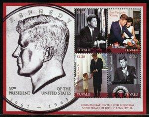 TUVALU 10th MEMORIAL ANNIVERSARY OF JOHN F. KENNEDY Jr. SHEET  MINT NH