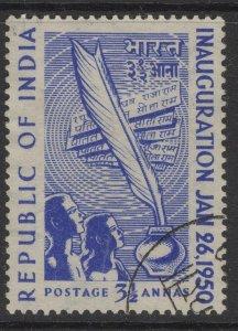 INDIA SG330 1950 3½a INAUGURATION OF REPUBLIC USED