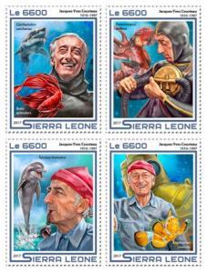 SIERRA LEONE - 2017 - Jacques-Yves Cousteau  - Perf 4v Sheet - M N H