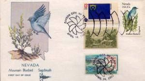 United States, First Day Cover, Birds, Flowers, Nevada