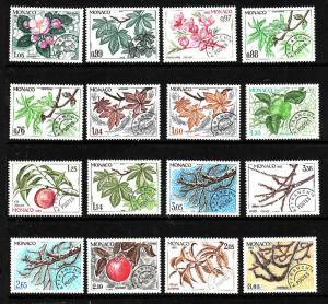Monaco-Sc#1205-20-unused NH set-branches of Chestnut , Peach & Apple-1980-83-