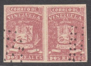 VENEZUELA  An old forgery of a classic stamp - a pair.......................D809