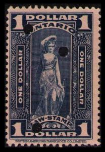 ONTARIO REVENUE TAX 1929 SCARCE $1. #OL75a VINTAGE LAW STAMP CAT $2. SEE SCAN