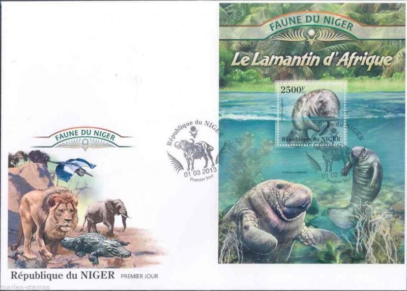 FAUNE OF NIGER 2013 MANATEES SOUVENIR SHEET   FIRST DAY COVER