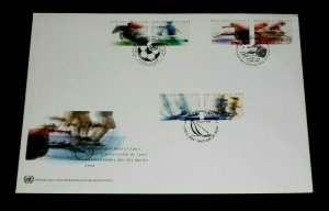 U.N. 2005, INTL. YEAR OF SPORTS, SINGLES ON LARGE FDC, 3 OFFICES,NICE! LQQK!