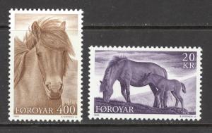 Faroe Islands Sc# 254-255 MNH 1993 400o-20k Horses