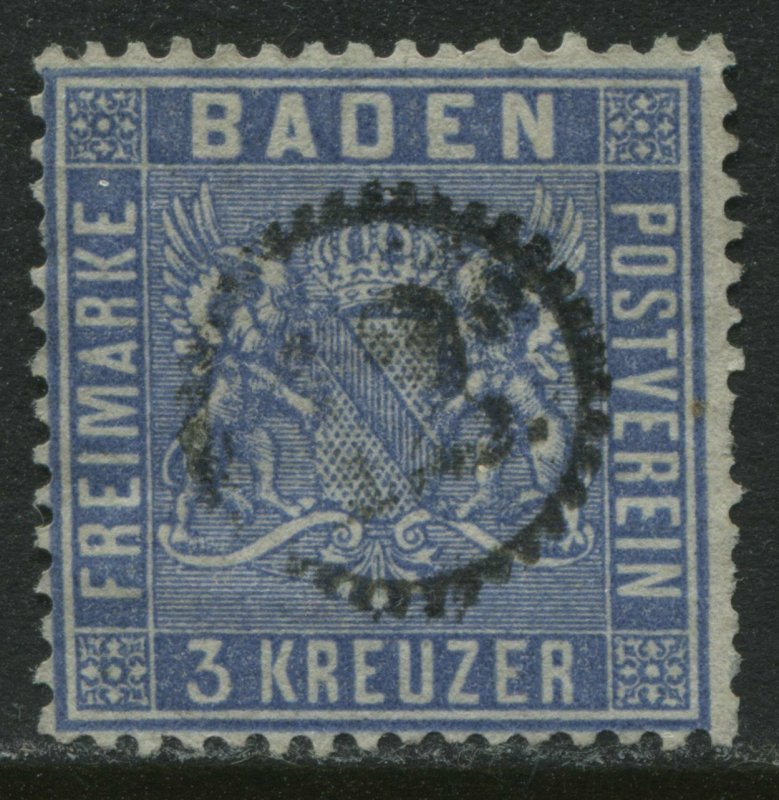 Baden 1861 3 kreuzer ultra used