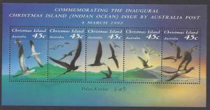 Christmas Island #349f MNH ss, Birds issued 1993