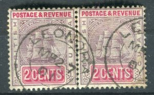 BRITISH GUIANA; 1901 early QV issue fine used 2c. Postmark Pair