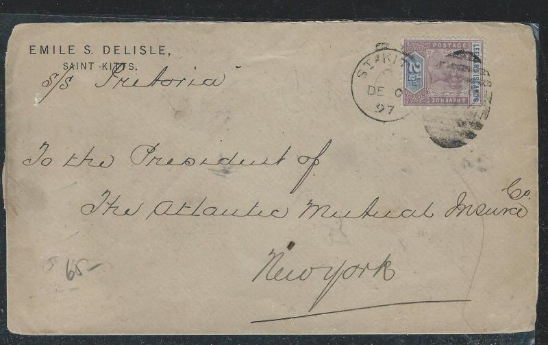 LEEWARD ISLANDS (P2712B) 1897   QV 2 1/2D COVER ST KITTS TO USA