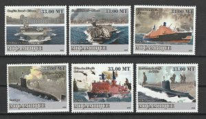Mozambique MNH Military Transport Ships & Submarines 2009