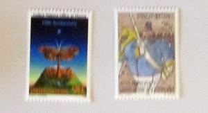 UN, NY- 552-53, MNH Set. 10th Anniversary. SCV - $4.00