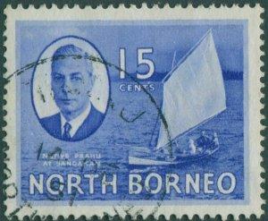 Malaysia North Borneo 1950 SG363 15c Prahu KGVI FU