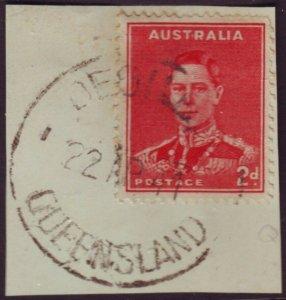 QUEENSLAND POSTMARK DEGILBO ON 2d RED KGVI DATED 1947 (A12005)